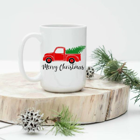 Red Truck with Tree Merry Christmas 15 oz Mug
