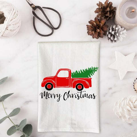 Red Truck with Christmas Tree Kitchen Towel