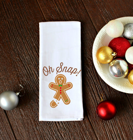 Oh Snap Gingerbread Man Kitchen Towel, Tea Towel, Flour Sack