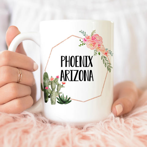 Arizona Cactus Flowers Frame 15 oz Mug