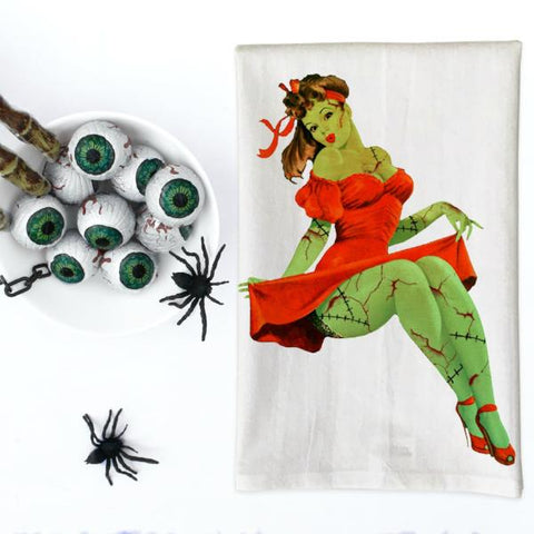 Zombie Pin Up Girl in Red Dress Kitchen Towel