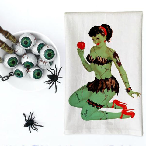 Zombie Pin Up Girl with Apple Kitchen Towel