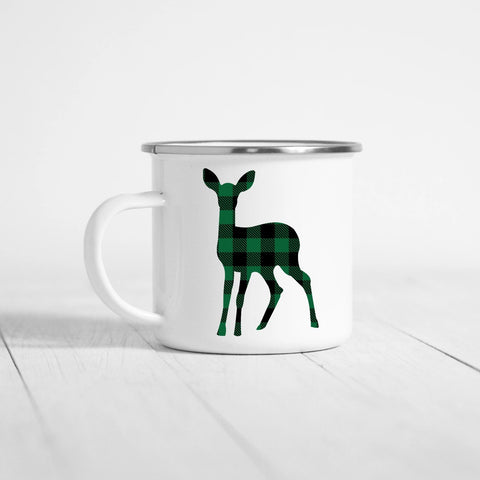 Plaid Deer 12 oz Camping Mug