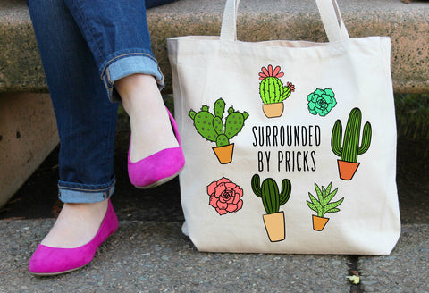 Surrounded by Pricks XL Tote Bag