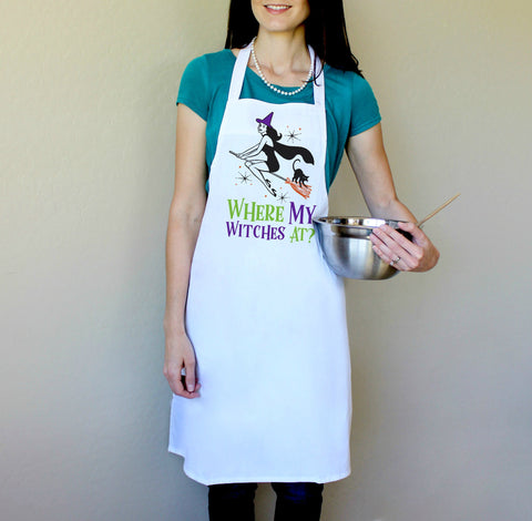 Where My Witches At Halloween Apron
