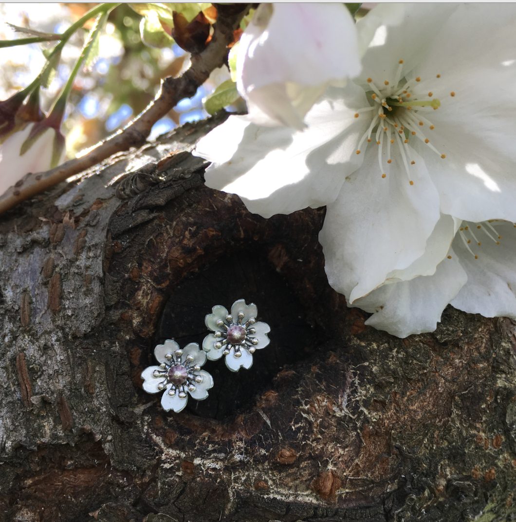 Adele Stewart Maker, Handmade in New Zealand, buy NZ made, Shop local, Cherry Blossom Studs,