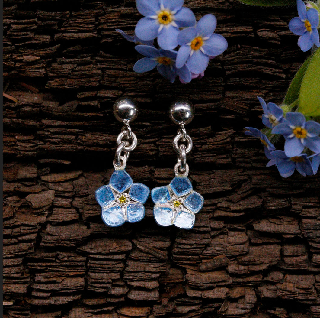 Yellow Diamond Forget-Me-Not Drop Earrings