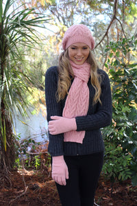 Chunky cabled alpaca beanie with generous crown, wear slouch style.  Rose
