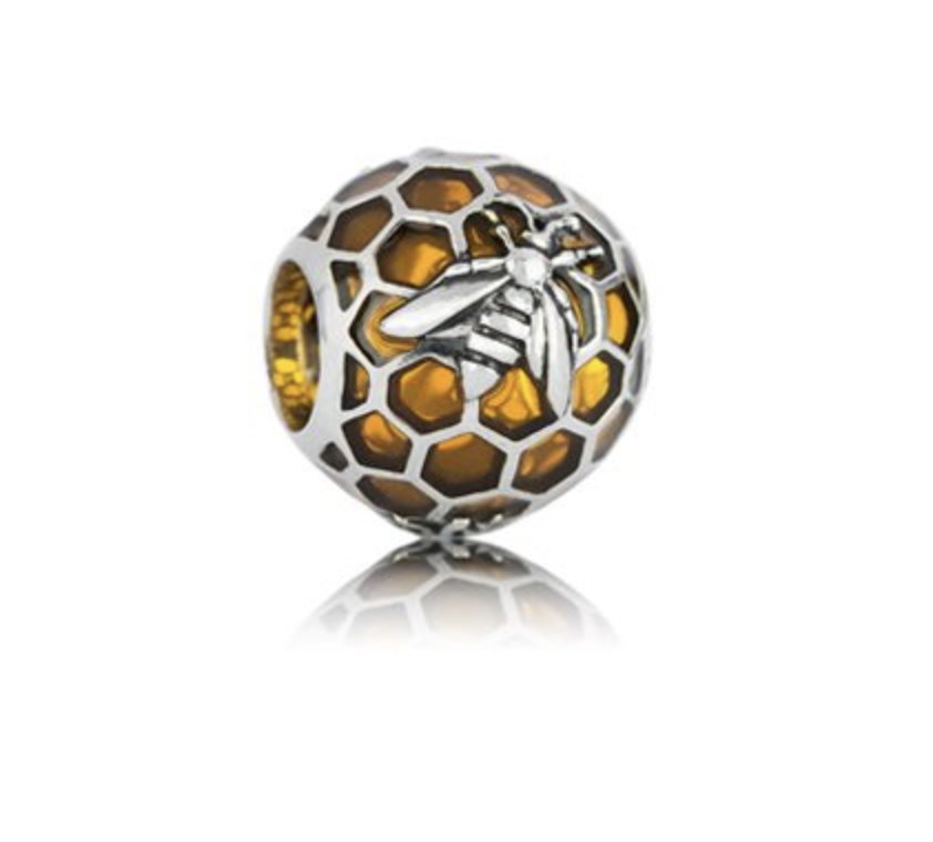 New Zealand Charm, Evolve, Murano Glass, Sterling Silver, Designed in NZ, Enamel, local, Honey Bee, NZ, Bee, Honeycomb