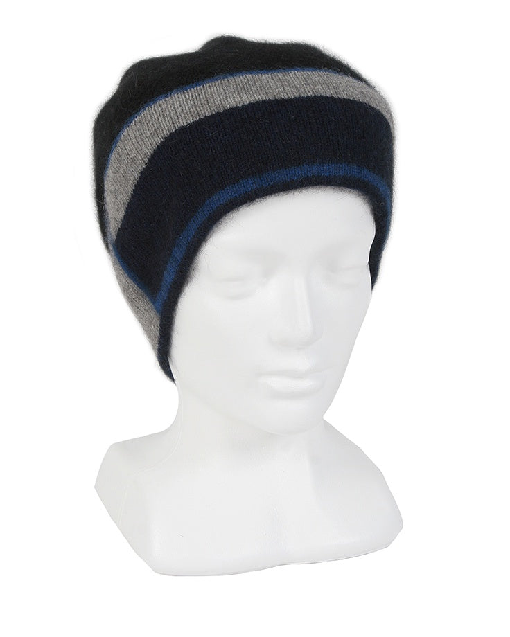 Slouch style beanie with striking geometric pattern on band. Possum Merino, Lothlorian, Made in New Zealand.