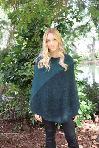 Two-tone poncho featuring contrast diagonal textured knit panel - generous arm cover. Possum, Merino, New Zealand Made. Lothlorian