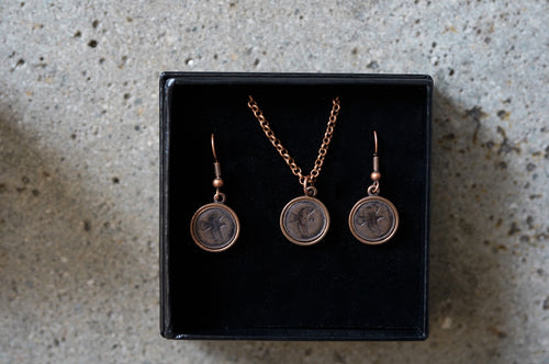 Hand Stamped Tui Pendant/Earrings (Copper Plated)