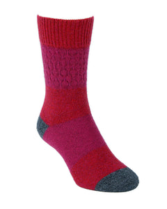 Fun three colour striped possum merino sock with waffle textured knit in shin area. Made in New Zealand. Lothlorian