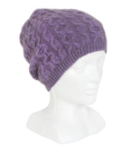 Load image into Gallery viewer, Cabled possum merino beanie with generous crown, wear slouch style. Lothlorian. Made in New Zealand