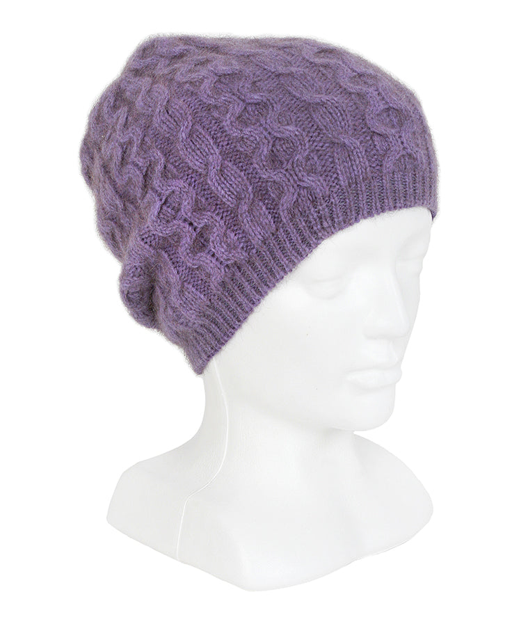 Cabled possum merino beanie with generous crown, wear slouch style. Lothlorian. Made in New Zealand