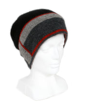 Load image into Gallery viewer, Slouch style beanie with striking geometric pattern on band. Possum Merino, Lothlorian, Made in New Zealand.