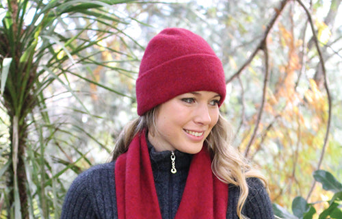 Double thickness Possum Merino beanie with turnback. Lothlorian. Made in New Zealand