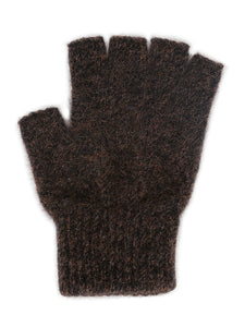 Single thickness possum merino glove with elasticated rib cuff and open fingers from just below the knuckle. Lothlorian. New Zealand Made