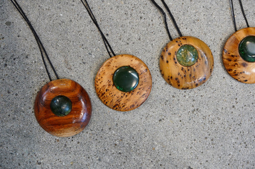 Ashley Tinnion - Koupra (silver pine) and Greenstone Pendant