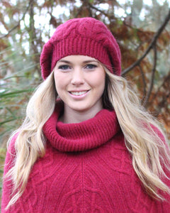 Chunky cabled alpaca beanie with generous crown, wear slouch style.  Claret