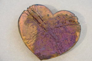 Raku (pottery) Heart, Made in New Zealand, Handmade
