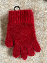 Load image into Gallery viewer, Single thickness, cozy, warm and soft New Zealand made children's gloves.   These gloves are made from a luxurious blend of possum fur and superfine New Zealand Merino wool. Red