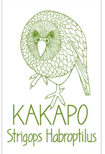 Load image into Gallery viewer, Moa Revival, New Zealand made, NZ Tea towels, Kakapo,