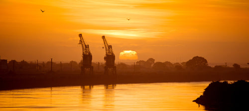 Grey River Sunset + Cranes