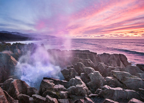 Punakaiki Blowholes Sunset