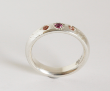 Load image into Gallery viewer, Adele Stewart Maker, Handmade in New Zealand, buy NZ made, Shop local, Sapphire, Ring, Peach Sapphire, Garnet, Gemstones,
