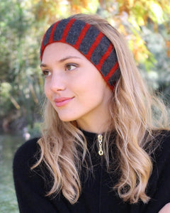 Double thickness headband that is super warm and versatile with stripes on one side and plain on reverse. Possum Merino. Lothlorian, Made in New Zealand