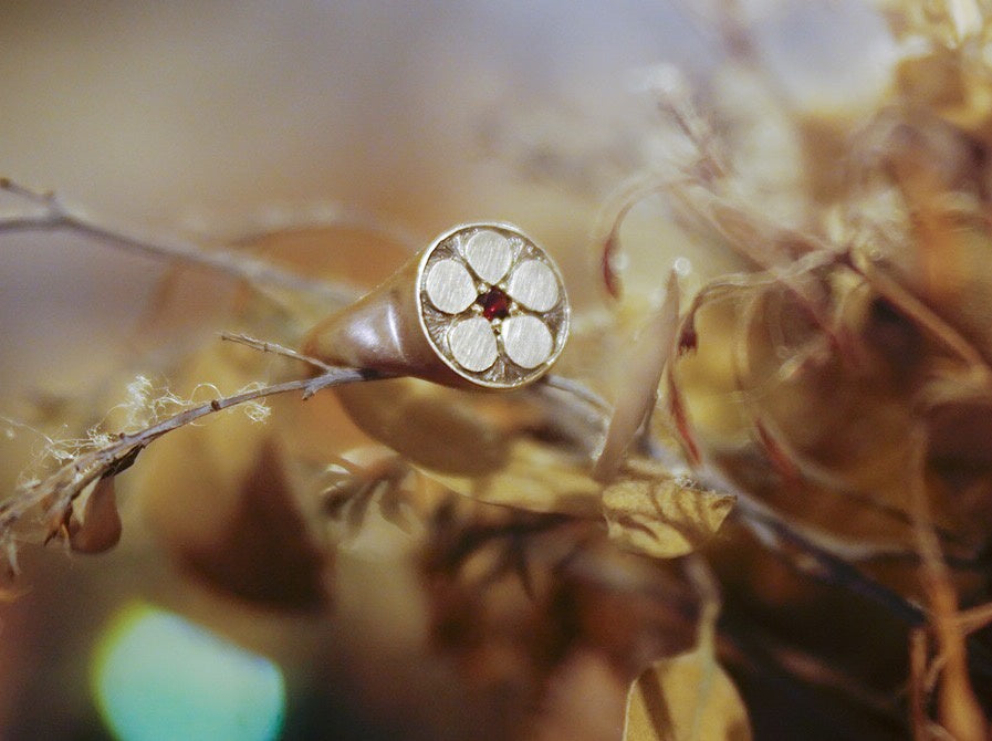 Adele Stewart Maker, Handmade in New Zealand, buy NZ made, Shop local, Signet Ring, Garnet, Manuka Flower,