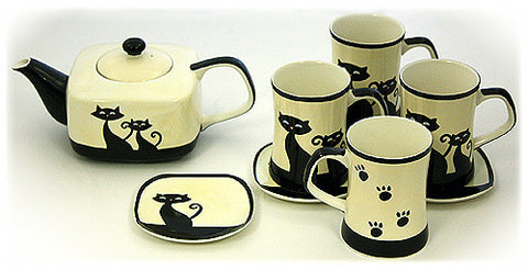 Hues & Brews Ivory 9 Piece Cattitude Teapot, Mugs & Coasters Set - 10""