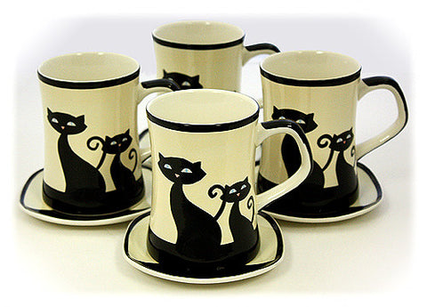 Hues & Brews Ivory 8 Piece Cattitude Mugs & Coasters Set - 4.5""