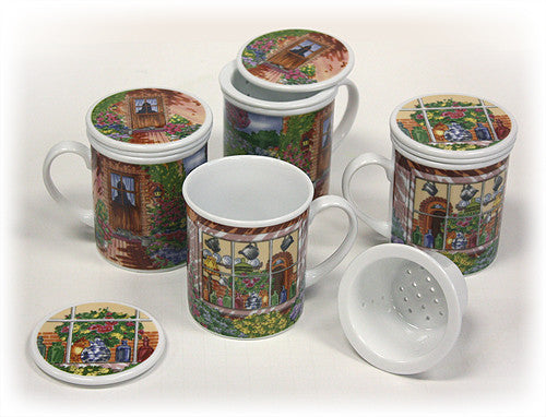 "Hues & Brews 4 Piece ""Garden Cottages"" Lidded Tea Infuser Mug Set"