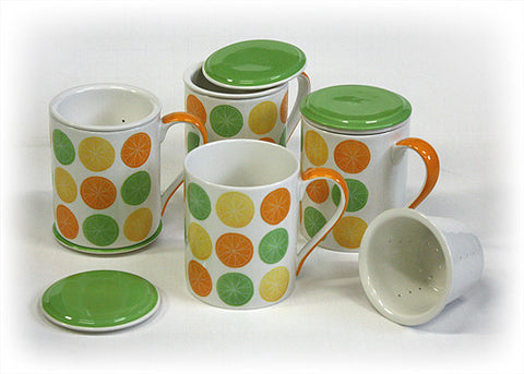 "Hues & Brews Multi-color 4 Piece ""Fresh Squeezed"" Lidded Tea Infuser Mug Set - 4.75"""