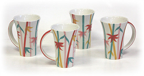 4 Piece 12 Oz. Bamboo Pattern Mugs by Hues & Brews