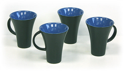 Hues & Brews Periwinkle & Black 4 Piece Mug Set - 5""
