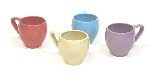 4 Piece 13 Oz. Multicolor Circle Mug Set by Hues & Brews (Ivory, Lavender, Sugar Coral, & Blue Ice)