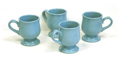 Hues & Brews Sky Blue 4 Piece 10 Oz. Pedestal Mug Set - 5""