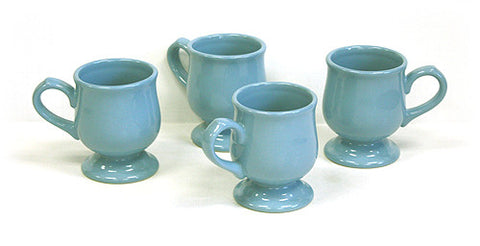 4 Piece 10 Oz. Sky Blue Pedestal Mug Set by Hues & Brews