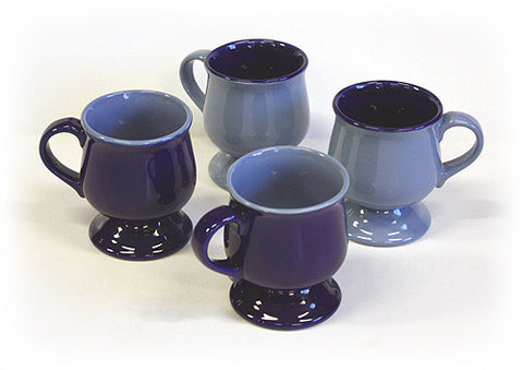 Hues & Brews Sky & Ocean Blue 4 Piece 10 Oz. Pedestal Mug Set - 4.5""