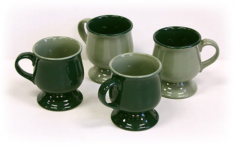 4 Piece Fir Green and Moss Pedestal Mug Set