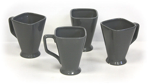 Hues & Brews Storm Gray Square 14-Ounce Pedestal Mug set - 5""
