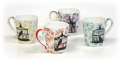 4 Piece 12 Oz. Bird Cages Mug Set by Hues & Brews