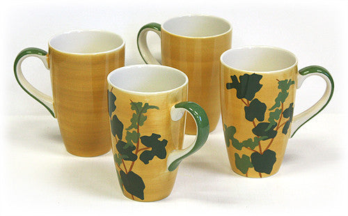 4 Piece 20 Oz. Summer Leaves Extra Large Mug Set by Hues & Brews