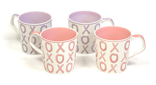 4 Piece 15 Oz. XOXO Mug Set by Hues & Brews