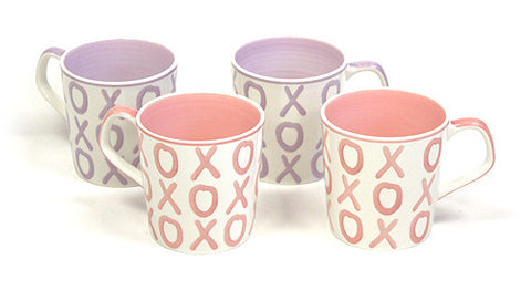 Hues & Brews Pink, Lavender 4 Piece 15 Oz. XOXO Mug Set - 5.25""