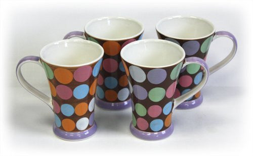 Hues & Brews 4 Piece Dots Mug Set