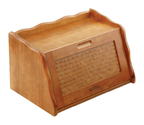 Mountain Woods Large Honey Oak Finish Wooden Bread Box & Storage Box w/ Rattan Accented Lid